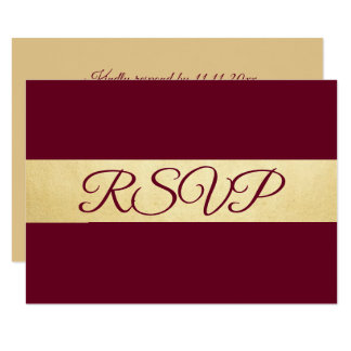 Personalized Elegant Fall Burgundy RSVP Wedding Card