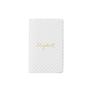 Personalized Elegant Faux Gold Name Check Pattern Pocket Moleskine Notebook