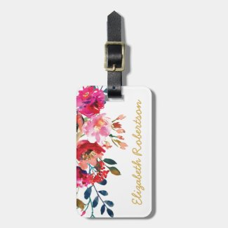 Personalized Elegant Floral Watercolor Girly Pink Bag Tag