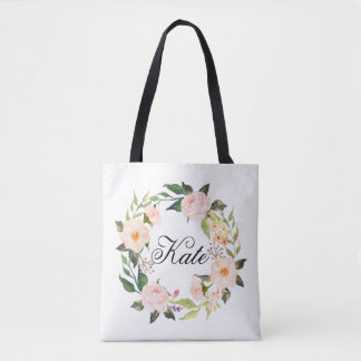 personalized elegant floral wreath tote bag