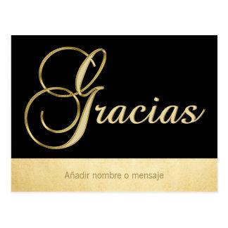Personalized Elegant Gold Black Occasion Gracias Postcard