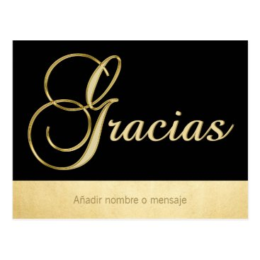 Professional Business Personalized Elegant Gold Black Occasion Gracias Postcard