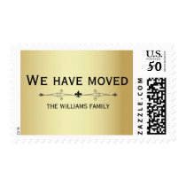 Personalized Elegant Gold & Black We Have Moved Postage