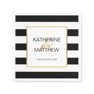 Wedding Themed Personalized Elegant Gold Frame Wedding Paper Napkin