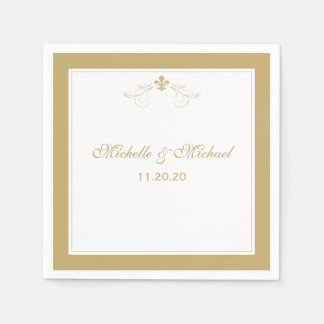 Personalized Elegant Gold White Fleur de Lis Paper Napkin
