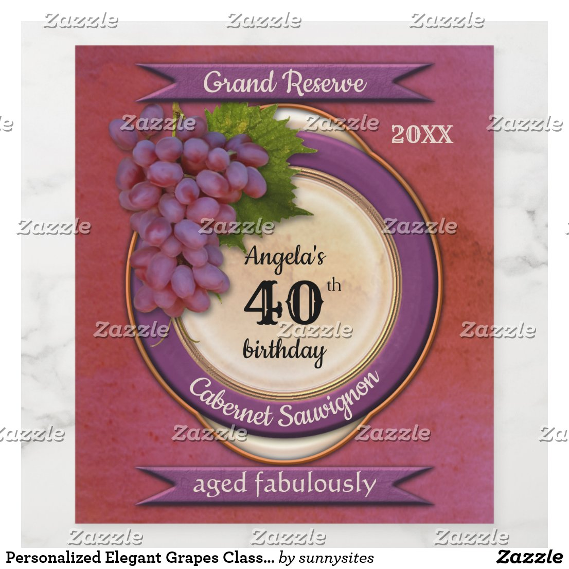 Personalized Elegant Grapes Classic Wine Label