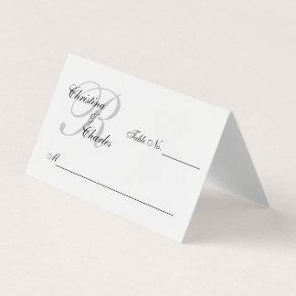 Personalized Elegant Gray Monogram Names Wedding Place Card