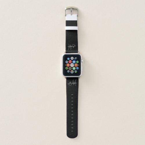Personalized Elegant Gray Script Monogram Name Apple Watch Band