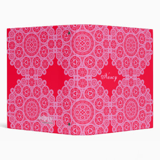 Personalized Elegant Lace on Red Binder