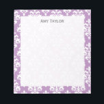 """Personalized Elegant Lavender Damask Notepad<br><div class=""""desc"""">A pretty personalized notepad that features a cute lavender purple and white damask pattern. Customize this elegant memo pad with your name.</div>"""