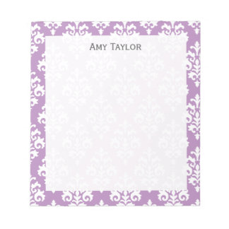 Personalized Elegant Lavender Damask Notepad