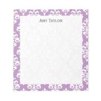Personalized Elegant Lavender Damask Scratch Pad