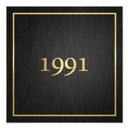 Personalized Elegant Metallic Gold 1991 5.25x5.25 Square Paper Invitation Card