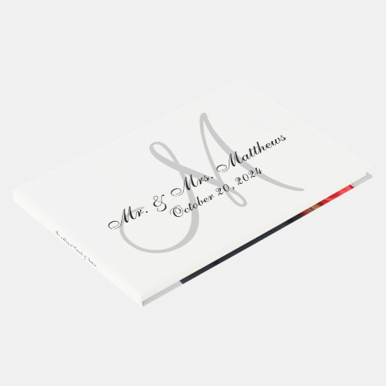 Personalized Elegant Monogram with Photo Wedding Guest Book