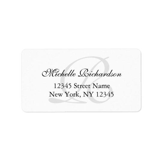 personalized elegant name monogram address labels. Black Bedroom Furniture Sets. Home Design Ideas
