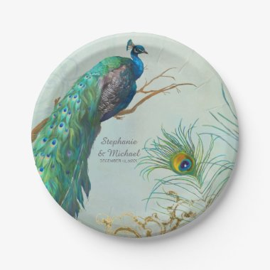 Personalized Elegant Peacock on Tree Branch Art Paper Plate