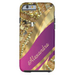 Personalized elegant pink and gold bling tough iPhone 6 case