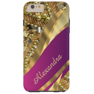 Personalized elegant pink and gold bling tough iPhone 6 plus case