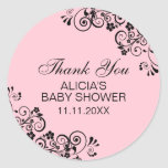 Personalized Elegant PINK Baby Shower Thank You Classic Round Sticker
