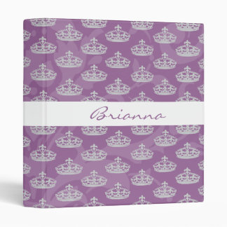 Personalized Elegant Purple Damask Diamond Crown Binder