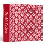 Personalized Elegant Red Damask Recipe Binder