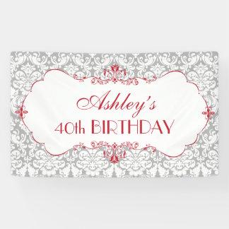Personalized Elegant Red Grey Birthday Banner