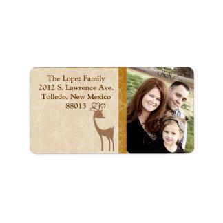 Personalized Elegant Reindeer Golden Mailing Label
