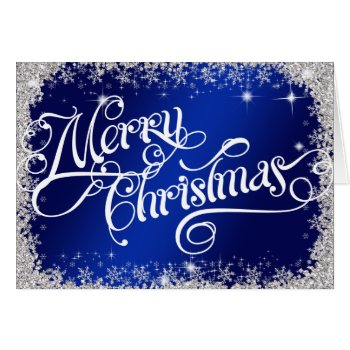 PERSONALIZED Elegant Royal Blue Merry Christmas Card