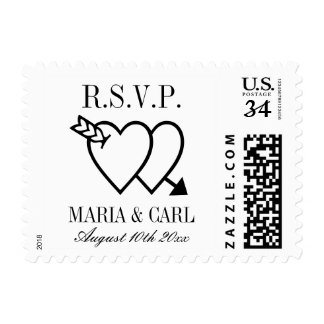 Personalized elegant RSVP wedding postage stamps