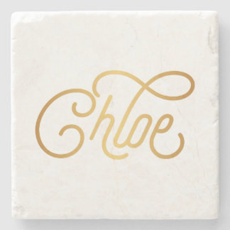 Personalized Elegant Script Chloe Gold on Black Stone Coaster