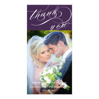 Personalized Elegant Script Wedding Thank You Photo Card