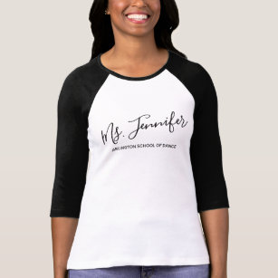 Personalized Elegant Scripted Dance Teacher T Shirt