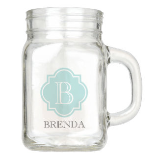 Personalized elegant teal quatrefoil monogram mason jar