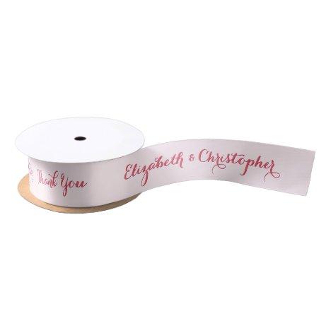 Personalized Elegant Thank You Wedding Favor Pink Satin Ribbon