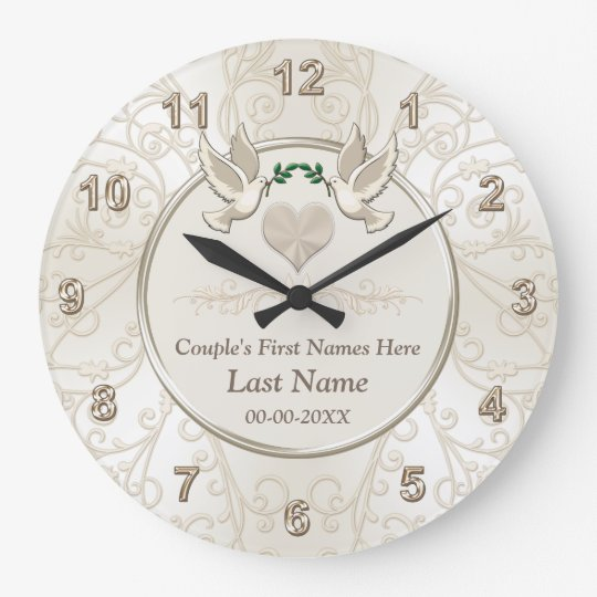 Unique Wedding Gifts For Couples: Personalized Elegant Wedding Gifts For Couples Large Clock
