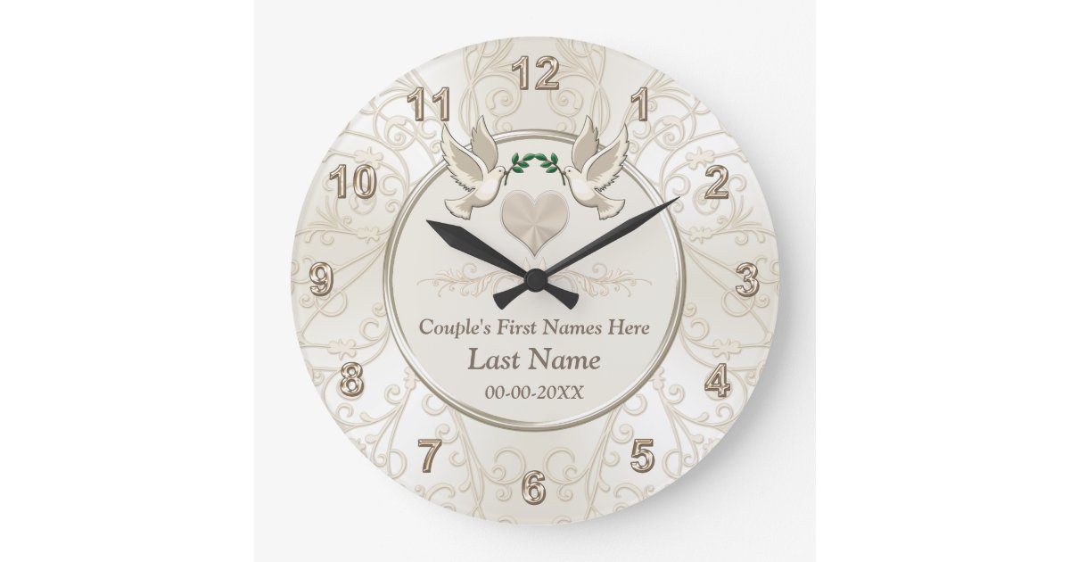 Personalized Wedding Gifts For Couples: Personalized Elegant Wedding Gifts For Couples Large Clock
