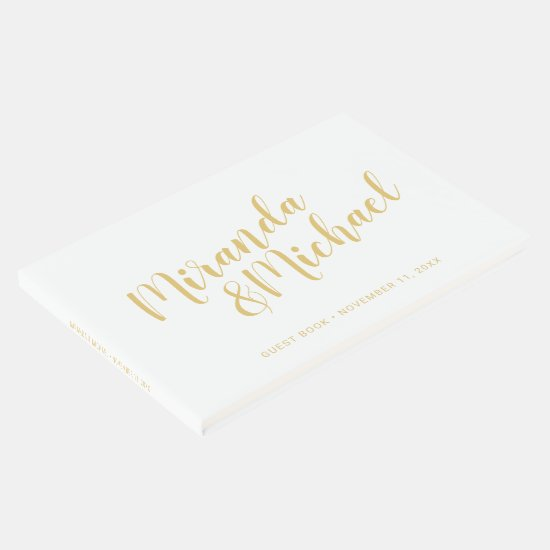Personalized Elegant White and Gold Wedding Guest Book