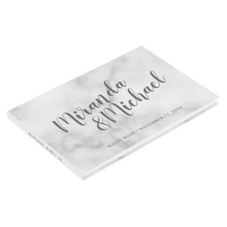 Personalized Elegant White Marble Wedding Guest Book