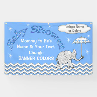 Personalized Elephant Baby Shower Banner for Boys