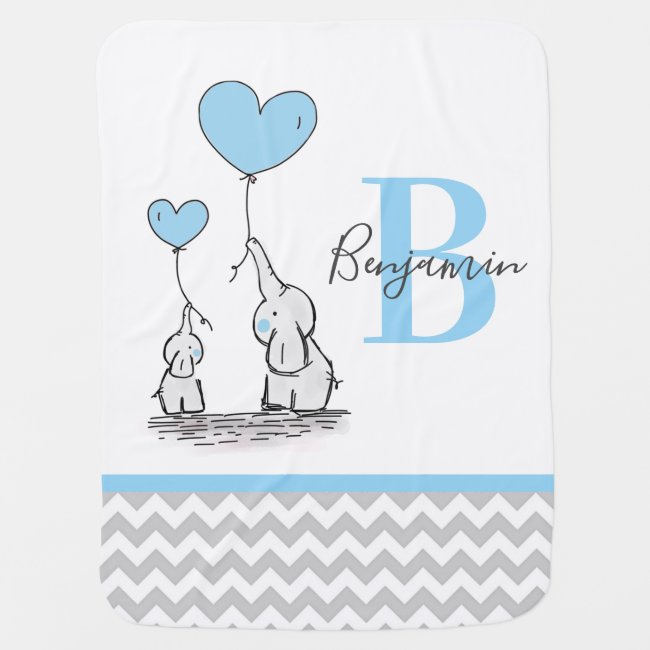 Personalized Elephant Blue Grey Chevron BOY Baby Blanket