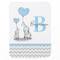 Personalized Elephant Blue Grey Chevron BOY Baby Blanket