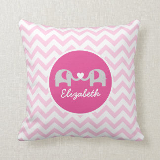 Personalized Elephant Chevron Pillow Pink