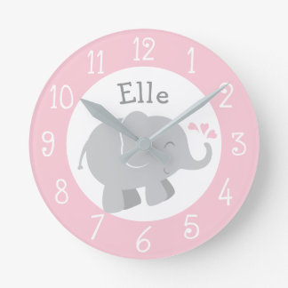 Personalized Elephant Clock | Pink and Gray