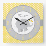 Personalized Elephant Clock | Yellow and Gray