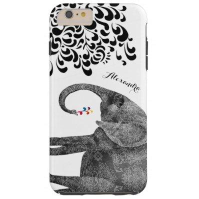 Personalized Elephant Damask iPhone 6 case