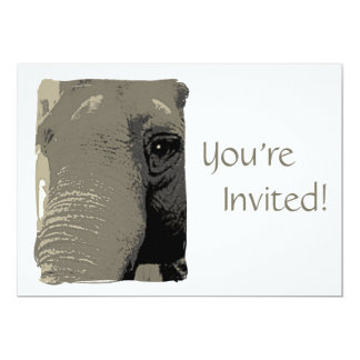 """Personalized Elephant Day at the Zoo Party 5"""" X 7"""" Invitation Card"""