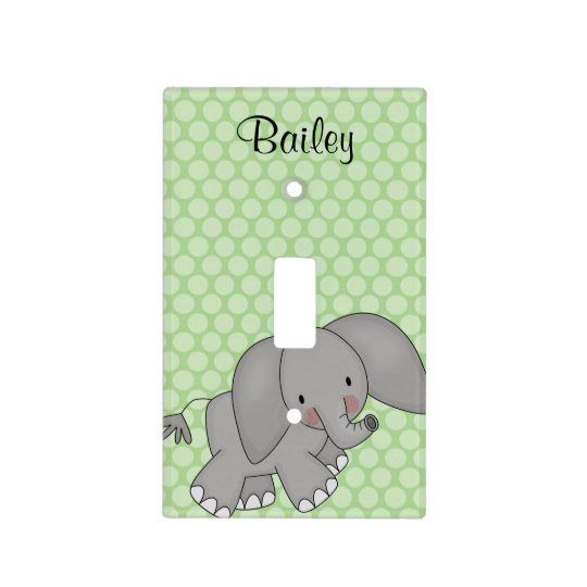 Personalized Elephant Green Polka Dot Kids Light Switch Cover