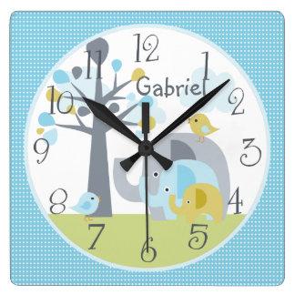Personalized Elephant Love Elephant Nursery Clock