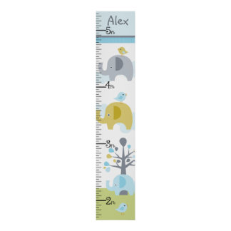 Personalized Elephant Love Growth Chart Poster