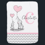"""Personalized Elephant Pink Grey Chevron Girl Baby Blanket<br><div class=""""desc"""">Modern baby soft and cuddly throw blanket / blankie for nursery. Modern elephant (mommy and me) theme in pink,  grey,  white chevron pattern. Delicate cartoon elephant with heart balloons. Personalized by adding baby girl's monogram and name.  Gift for newborn,  baby shower,  birthday. See MATCHING ITEMS in collection.</div>"""